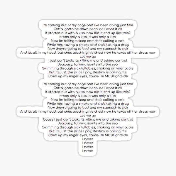 all of the lyrics to mr brightside by the killers Sticker