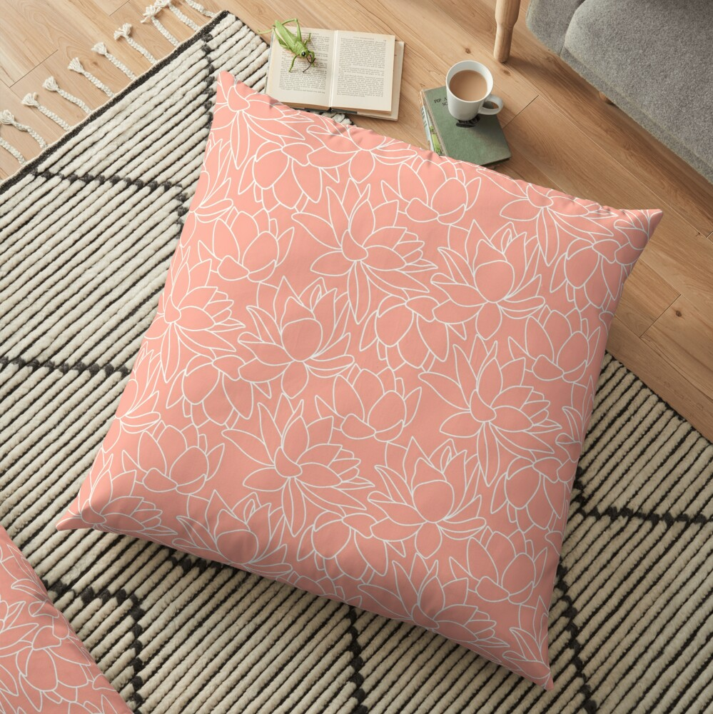 Peach Lotus Floor Pillow