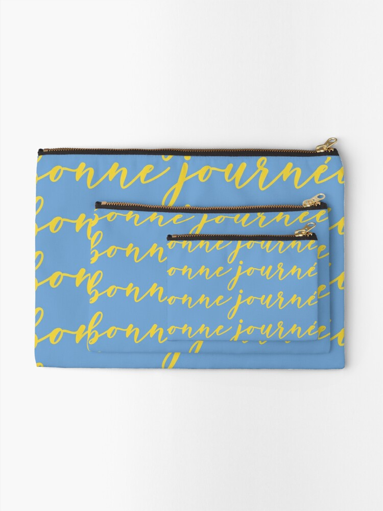 Alternate view of Bonne Journée Bleu (Have a nice day in blue) Zipper Pouch
