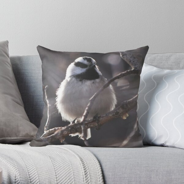 Fluffy Mountain Chickadee Throw Pillow