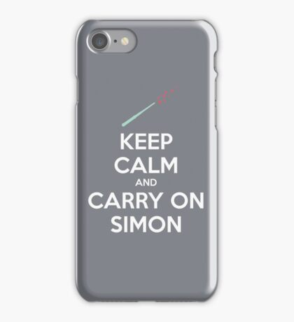 Keep Calm and Carry On Simon (White Text) iPhone Case/Skin