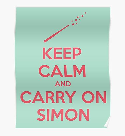 Keep Calm and Carry On Simon (Pink Text) Poster