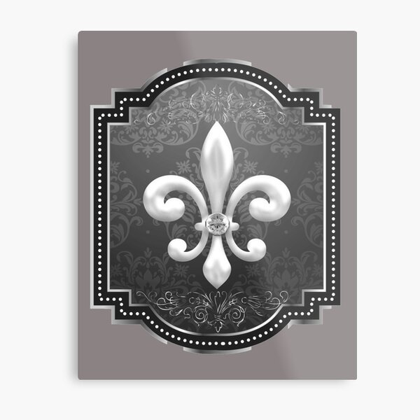 Fleur de lis on black victorian background Metal Print