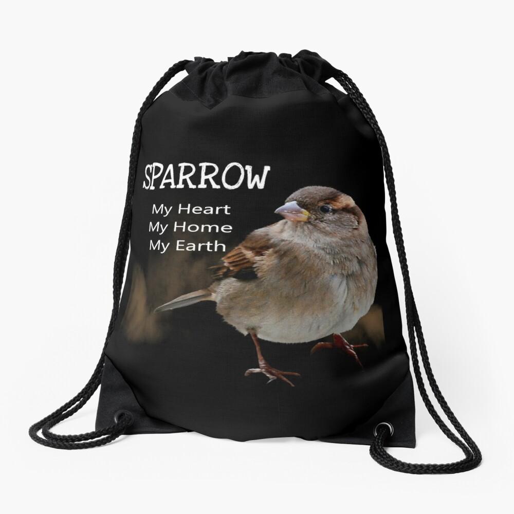Sparrow Symbolism Drawstring Bag