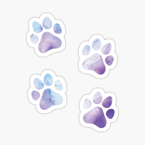 Purple and Blue Watercolor Dog Paws Design, Dog Stickers Sticker