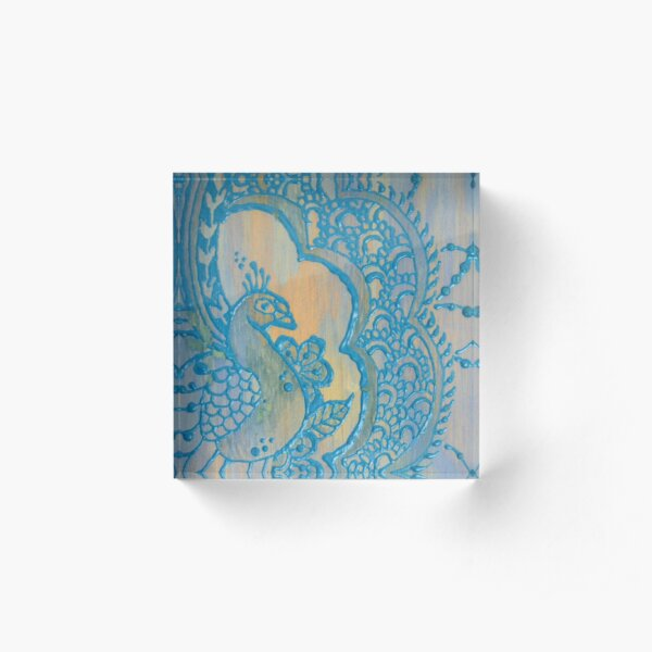 Blue Peacock in Henna Style Acrylic Block