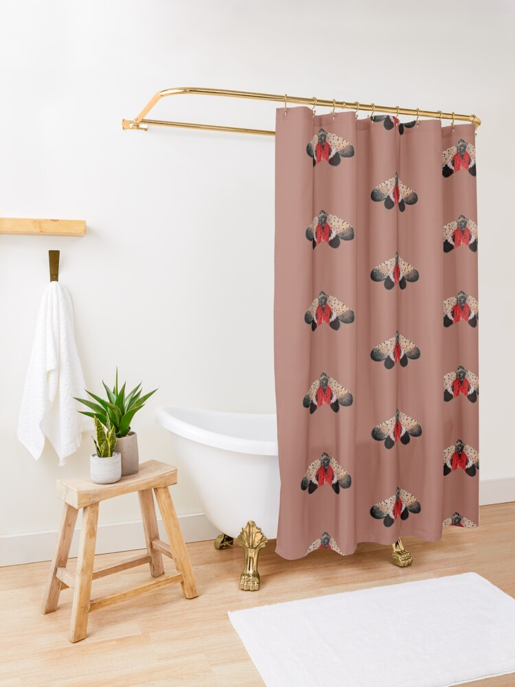 Alternate view of Spotted Lanternfly Shower Curtain