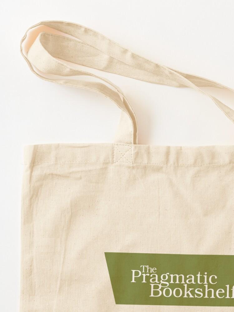 Alternate view of Green and White PragProg Tab Logo - Tote Tote Bag