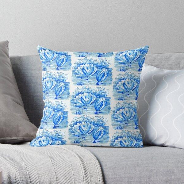 Vintage lotus flowers in blue  Throw Pillow