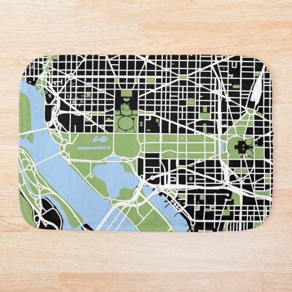 Map of Washington, DC Bath Mat