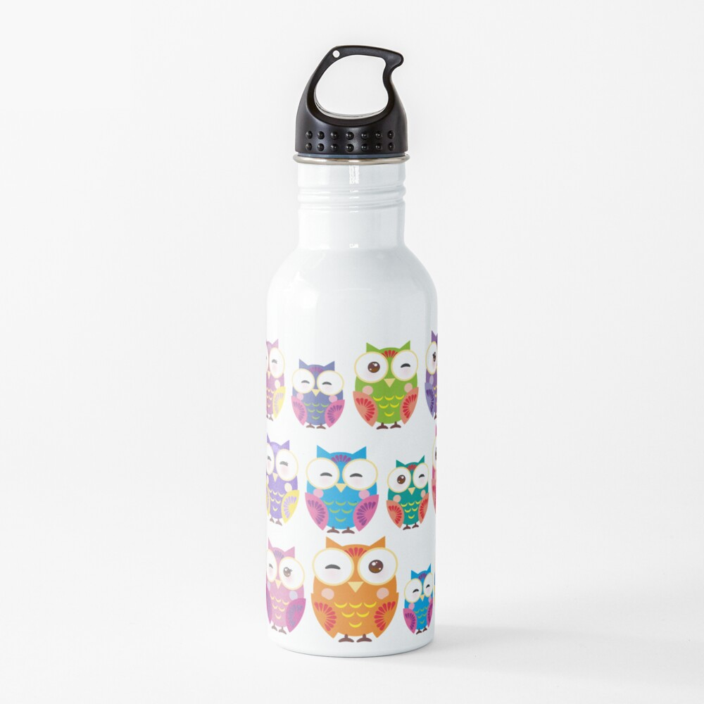 bright colorful owls on black background Water Bottle