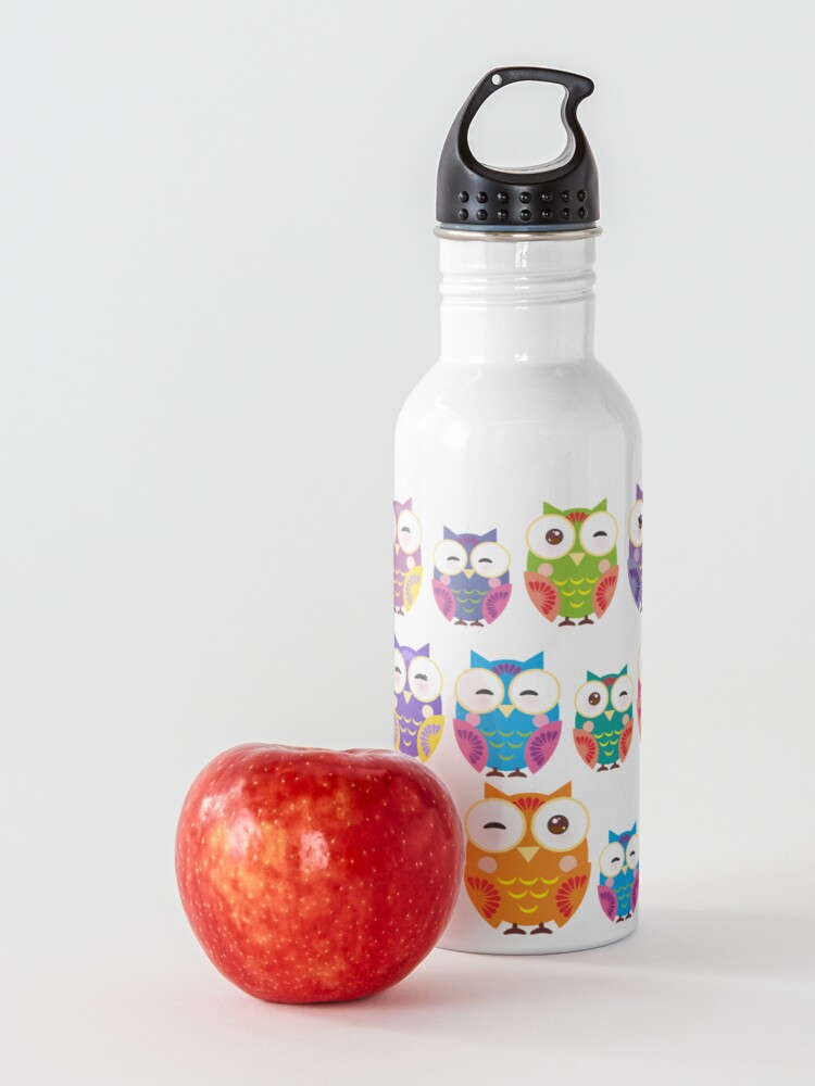 Alternate view of bright colorful owls on black background Water Bottle