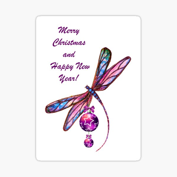 Christmas Dragonfly Sticker