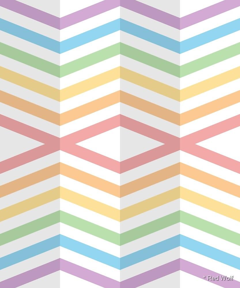 Geometric Pattern: Chevron Cascade: Rainbow Light Pastel by * Red Wolf