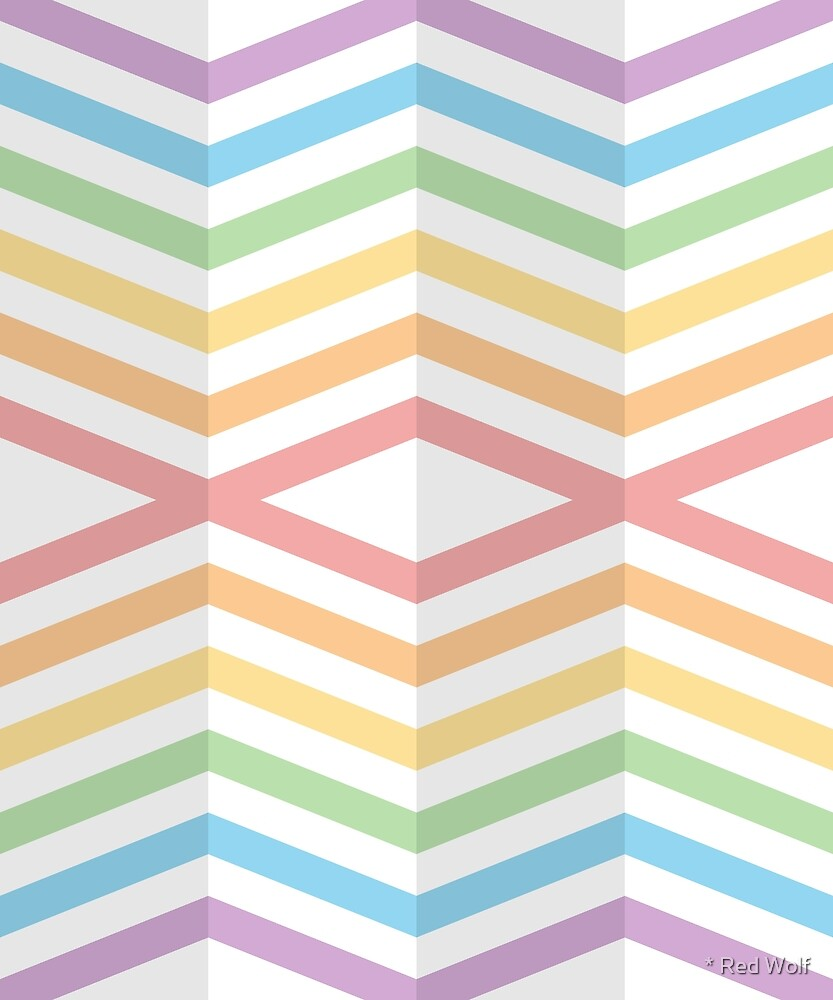 Geometric Pattern: Chevron Cascade: Rainbow Light Pastel by * Red Wolf