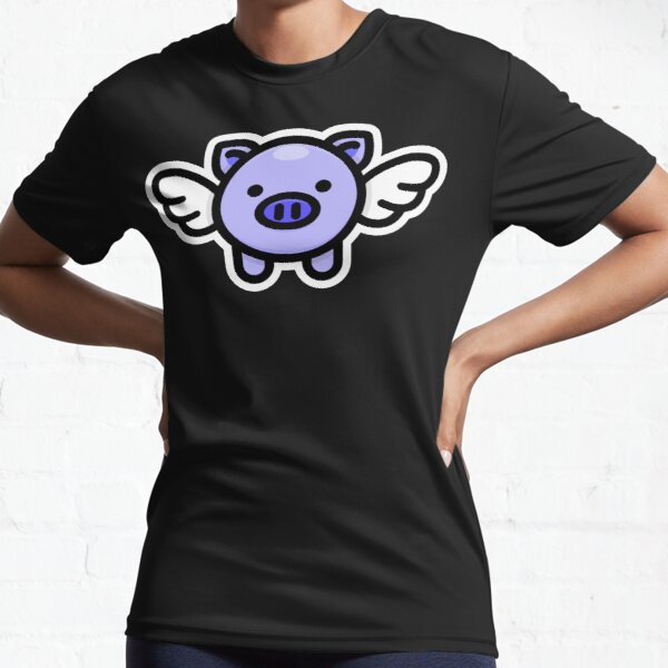 When Pigs Fly: Blue Active T-Shirt