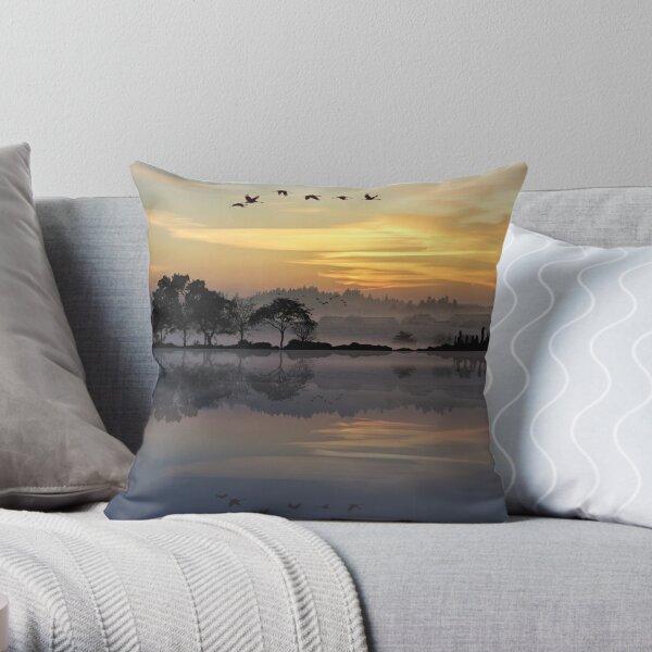 Nature Guitar Sunset Throw Pillow