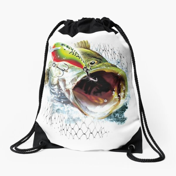 Fishing Lure Bait Angling Design Drawstring Bag