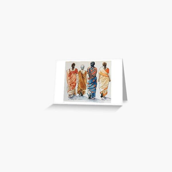 Indian ladies walking group Greeting Card