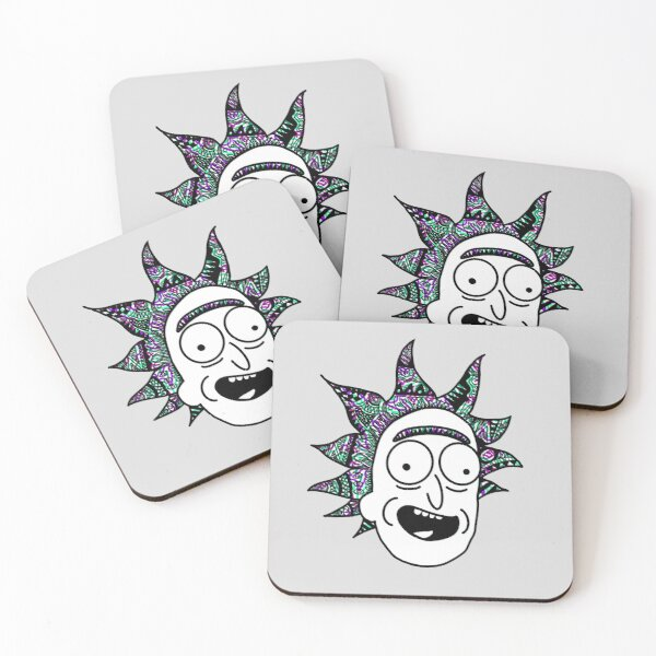 Rick and Morty™ Rick Sanchez Portrait Green and Purple Hair Coasters (Set of 4)
