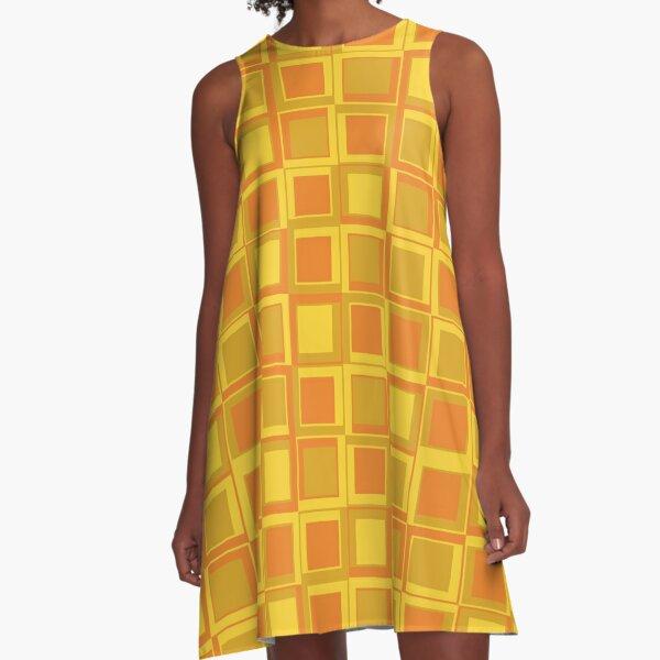 Oranger 70er Jahre Styling Quadrate A-Linien Kleid