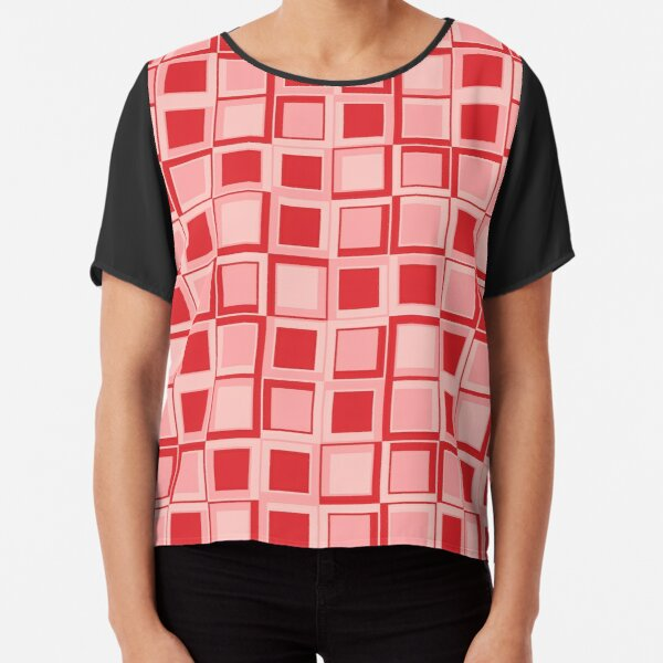 Rote 70er Jahre Styling Quadrate Chiffon Top