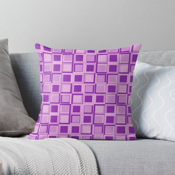 Purple 70's year styling squares Throw Pillow