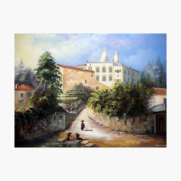 Palácio da Vila de Sintra, visto da Zona do Rio do Porto com as Lavadeiras de Sintra - Château de Sintra - Palace of Sintra PORTUGAL # Óleo sobre tela / Oil on canvas     Photographic Print