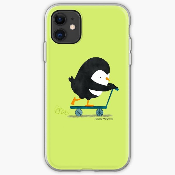 Penguin on Scooter iPhone Soft Case