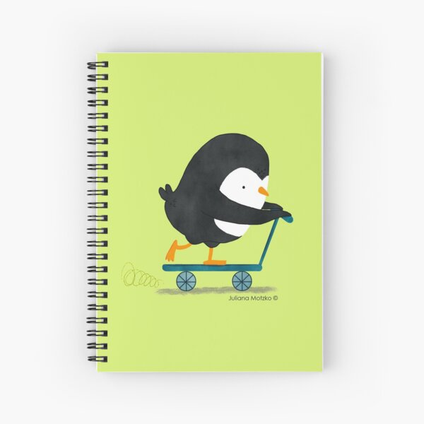 Penguin on Scooter Spiral Notebook