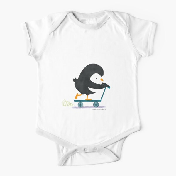 Penguin on Scooter Short Sleeve Baby One-Piece
