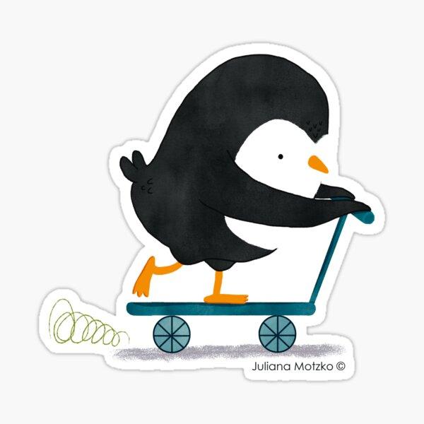 Penguin on Scooter Sticker