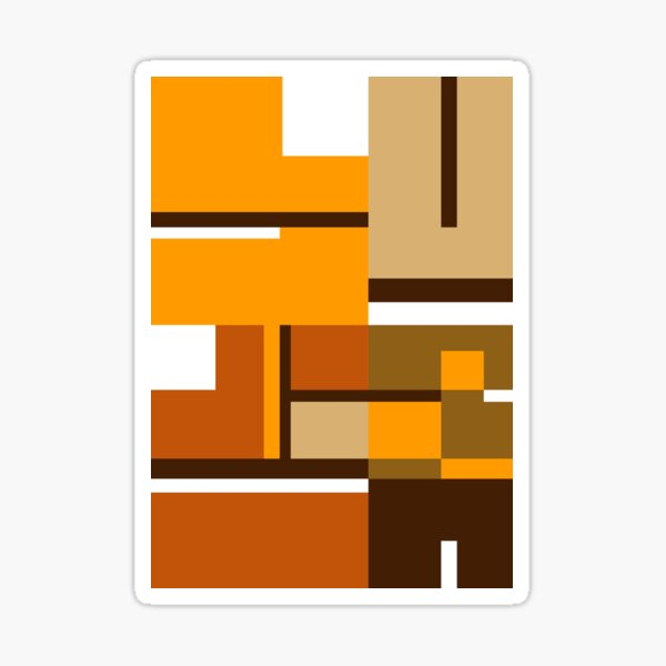 Earthy colored, 1970's Mondrian styled abstract Sticker