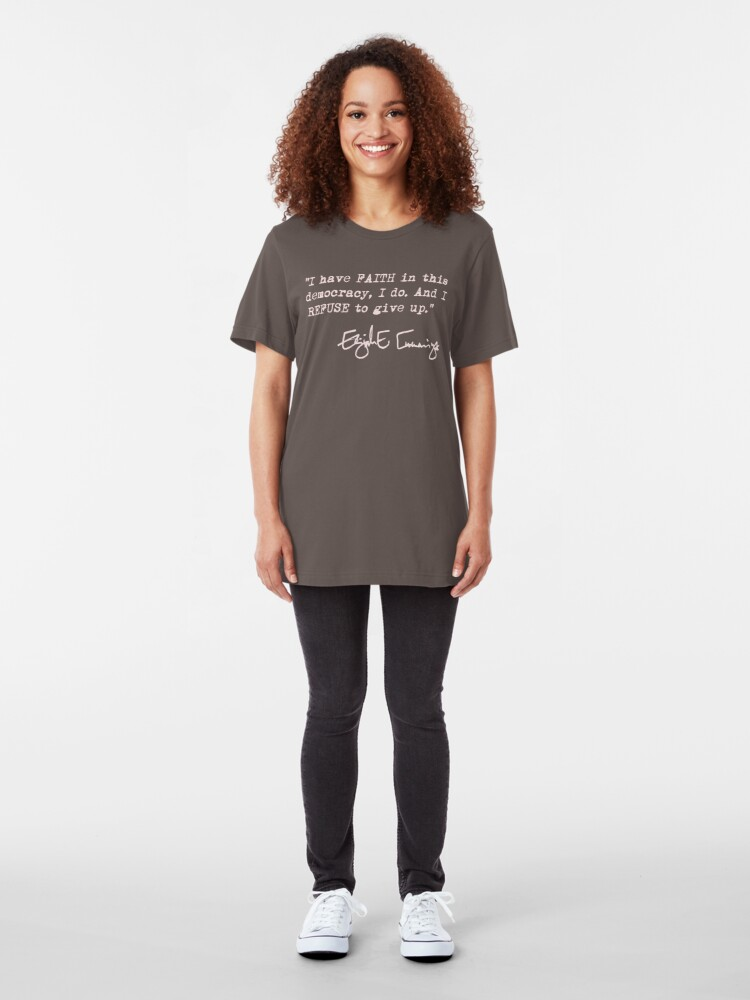 Alternate view of I have faith in this democracy... Elijah Cummings (dusty pink) Slim Fit T-Shirt