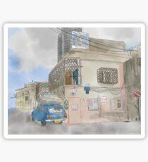 Neve Tzedek street with old car (Tel Aviv) Sticker