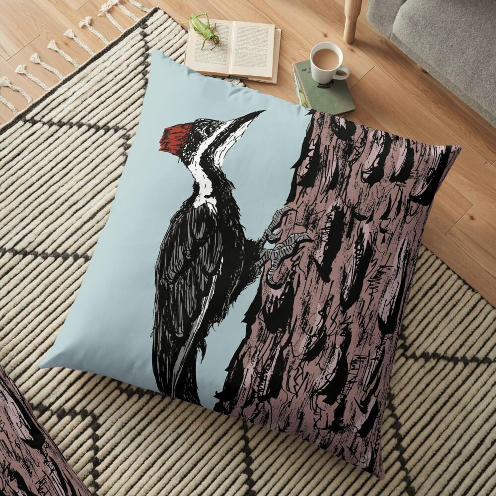 Pileated Woodpecker on a Jeffrey Pine Tree Floor Pillow