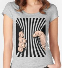 Big Hand Squeezing Referee Style Stripes Women's Fitted Scoop T-Shirt