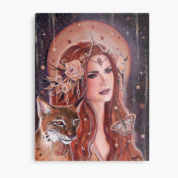 Freya goddess with Lynx by Renee Lavoie Metal Print