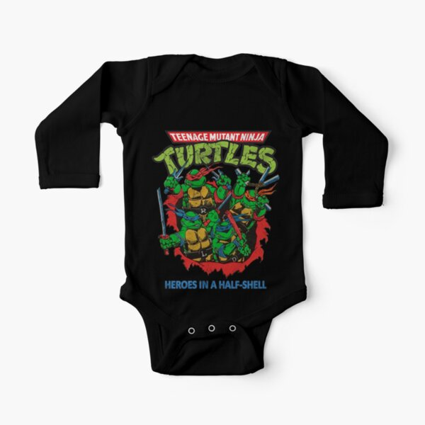 Heroes In A Half Shell (80s throwback design) Long Sleeve Baby One-Piece