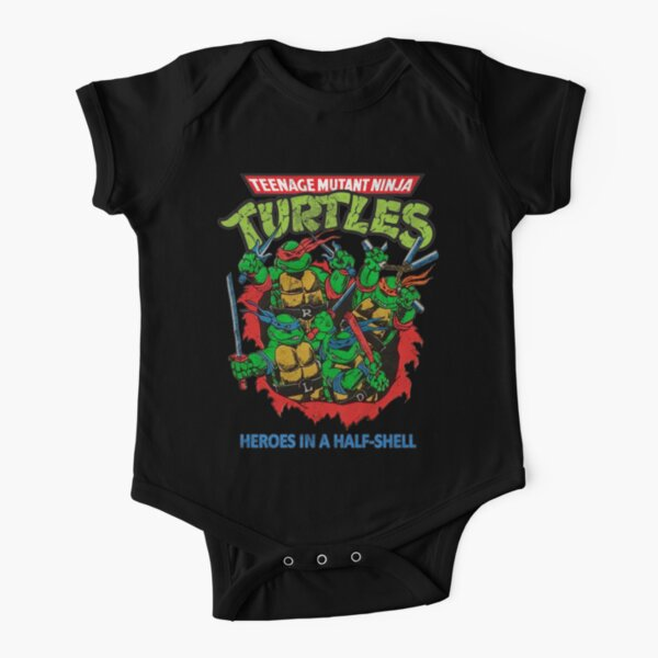 Heroes In A Half Shell (80s throwback design) Short Sleeve Baby One-Piece