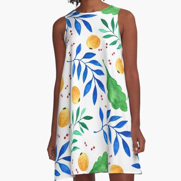 Pflanzentraum - Blatt- und Fruchtmuster A-Linien Kleid