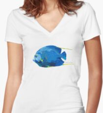 French Angelfish Fitted V-Neck T-Shirt