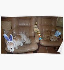 Two Very Tired Easter Bunnies Poster
