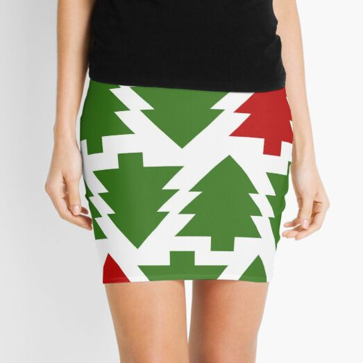 Red and Green Holiday Tree Pattern Mini Skirt