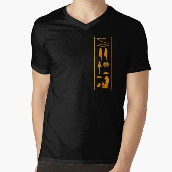 Beloved of Sekhmet. Gold Hieroglyphic T Shirt design by Stuart Littlejohn V-Neck T-Shirt