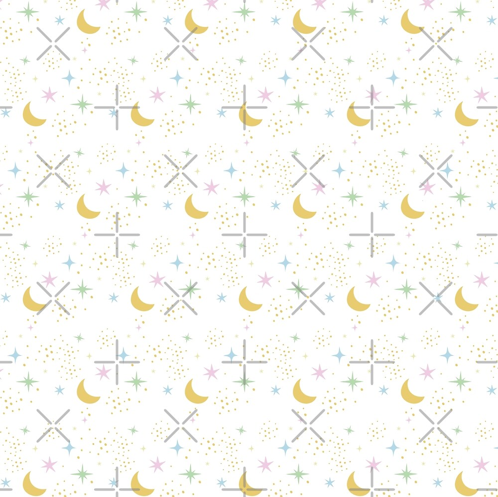 Moon and stars, multi color pattern by ColorsHappiness
