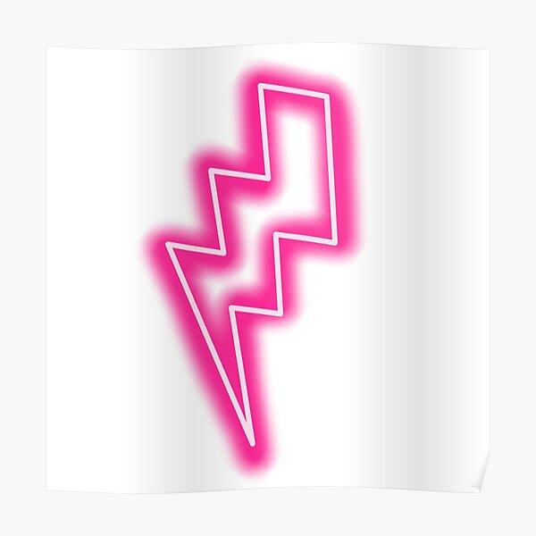Neon pink lightening bolt  Poster