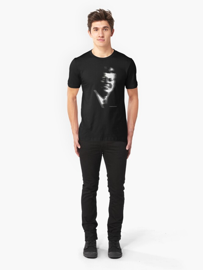 Alternate view of JFK Ghost TV Signal Slim Fit T-Shirt