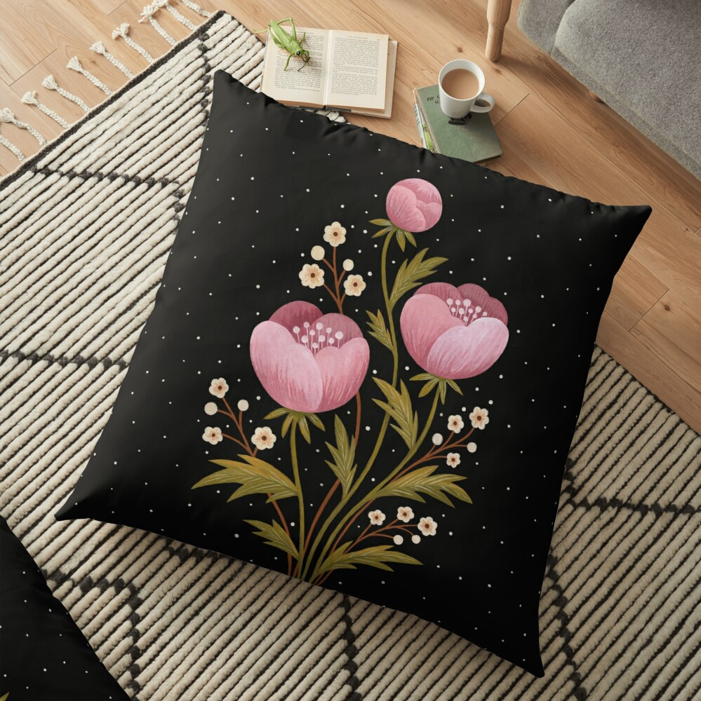 Blooms in the dark Floor Pillow