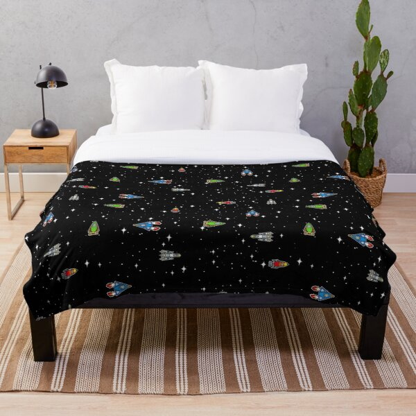 Spaceships in the Stars Throw Blanket